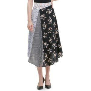 Calvin Klein A Line Skirt Black Floral Patch M NWT